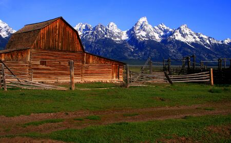 settler: Historic barn located on Mormon Row, Grand Teton National Park, Wyoming Stock Photo