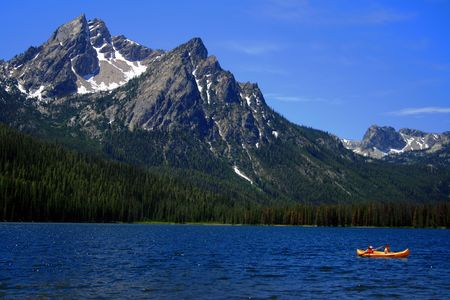 Stanley Lake with Sawtooths in background, Stanley Idaho Stock Photo