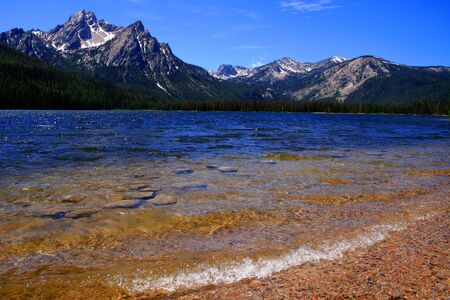 Stanley Lake with Sawtooths in background, Stanley Idaho Reklamní fotografie