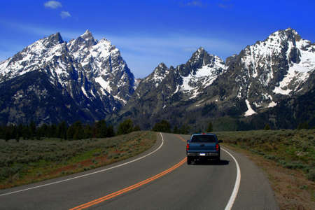 Highway leading to the Tetons, Grand Teton National Park, Wyoming