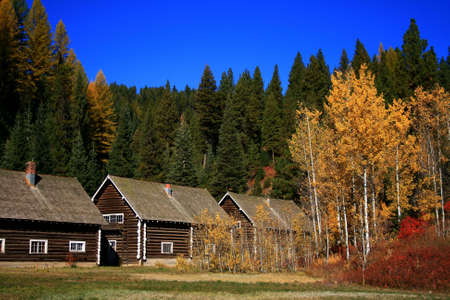 old government cabins with fall colors, Smiths Ferry Idaho photo