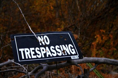No trespassing sign stuck to tree limb