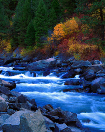 North fork of the Payette River in central Idaho autumn