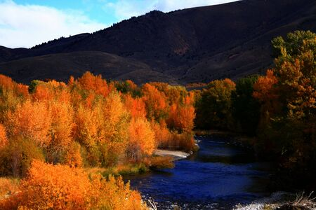 View of the Big Wood River south of Ketchum Idaho, autumn Stock Photo