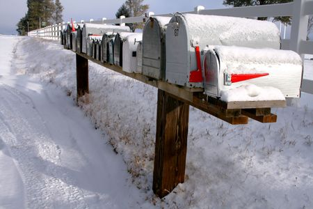 Row of mail boxes in early winter Idaho Reklamní fotografie