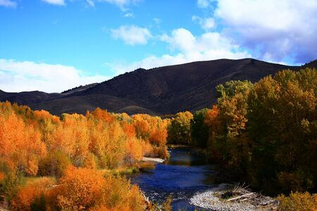 View of the Big Wood River south of Ketchum Idaho, autumn Reklamní fotografie
