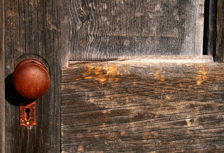 door knob: Old door knob on old Idaho barn Stock Photo