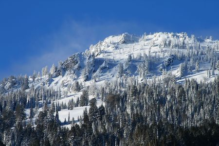 High mountain peak after snow storm in central Idaho