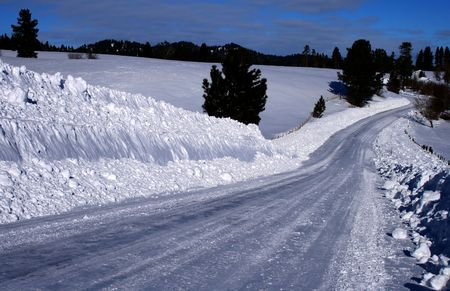 Rural road in winter in central Idaho