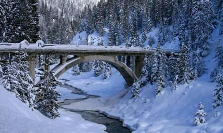 Historic bridge crossing the Payette River in central Idaho, winter