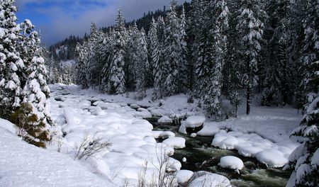 Payette river in central Idaho after heavy snow, winter