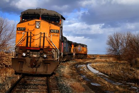 Locomotives sitting on a siding in Bliss, Idaho Stock Photo