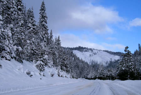 curve road: Winter travel on snowy roads in central Idaho