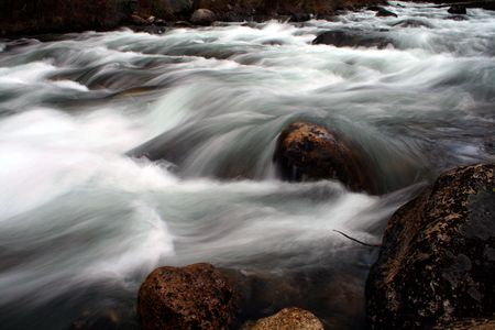 forceful: Spring run off on Redfish Creek as it heads to the Salmon River, Stanley Idaho Stock Photo