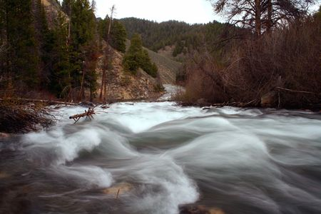 redfish: Spring run off on Redfish Creek as it heads to the Salmon River, Stanley Idaho Stock Photo