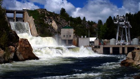 Open spillway and power plant at Cascade Dam, Cascade Idaho