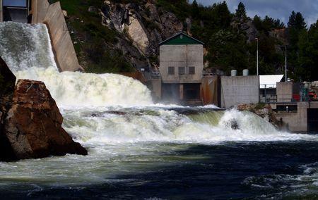 Open spillway and power plant at Cascade Dam, Cascade Idaho