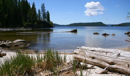 View from cove on Payette Lake near north shore, McCall Idaho Stock Photo