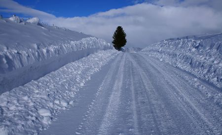 winter road: Winter driving on rural roads in central Idaho