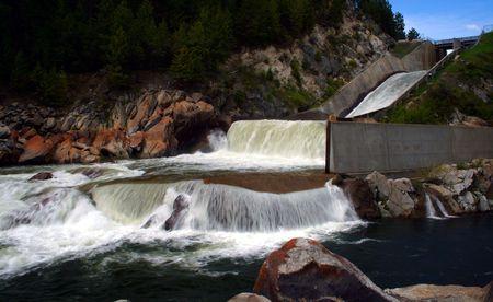 Open spillway at Cascade Dam, Cascade Idaho