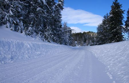 Winter driving on rural roads in central Idaho