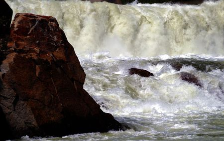 Wall of water coming from open spillway at Cascade Dam, Cascade Idaho