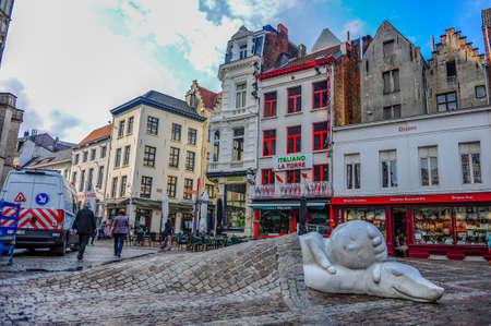 Antwerp, Belgium - July 12, 2019: Nello and Patrasche, characters of a famous novel 'A dog of Flanders', in Antwerp, Belgium