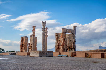 Ruins of the ancient ceremonial capital of the Achaemenid empire Persepolis, located near the city of Shiraz in Iran