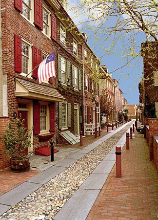 colonial: Beautiful historic Elfreths Alley in Philadelphia, Pennsylvania.