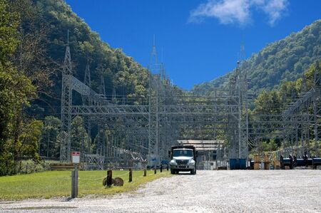 electric power station: This is a huge electric power grid providing energy to a vast area. Stock Photo