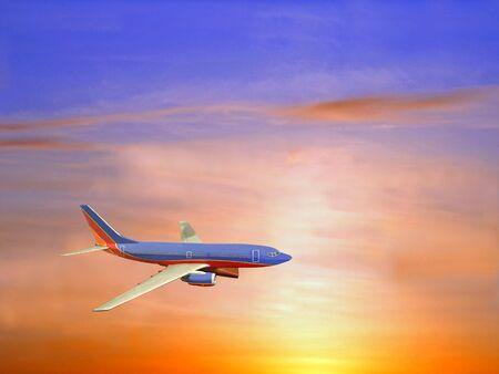 赤、黄色、青の痕跡の鮮やかな夕焼け空の旅客機。