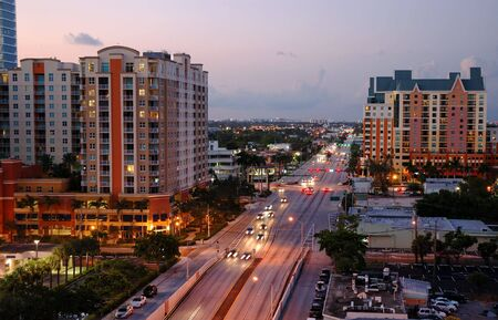 fort: Cityscape at Dusk in Fort Lauderdale, Florida.