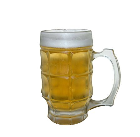 thirst quenching: Thirst quenching frosty mug of beer with a head appears very appetizing - over white.
