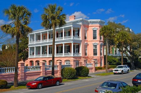 historic place: Beautiful pink mansion in downtown Charleston, South Carolinas historic section.
