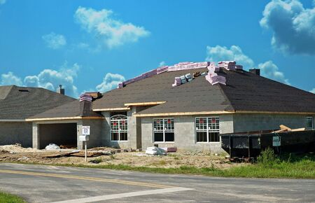 New construction site  for concrete block stucco homes.