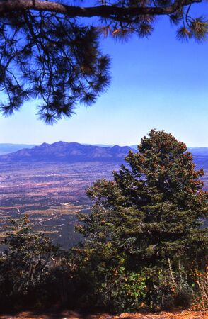 nm: Sandia mountaintop in Albuquerque, NM - a view of 50 miles. Stock Photo