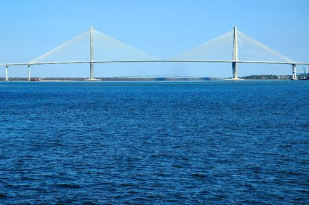 cooper: Arthur J, Ravenel bridge spanning the Cooper River in historic Charleston, South Carolina