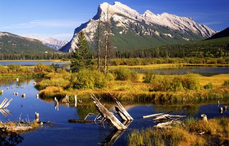 A beautiful mountain adds to the beauty of Vermillion Lake in Banff National Park, Canada Stock Photo - 2362408