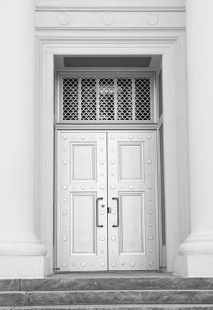 impervious: Large polished steel security doors at the entrance of the Supreme Court in Tallahasse