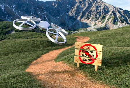 fly: Stop drone - no fly zone Stock Photo