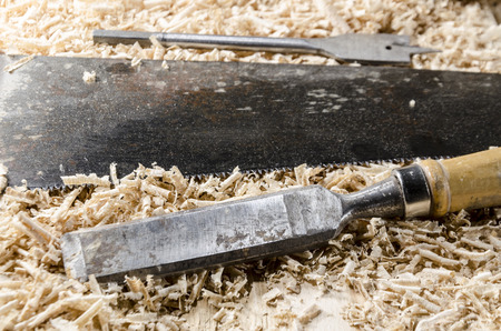 joinery: joinery tools - old chisel on the wooden table