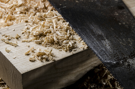 joinery: joinery tools - a saw blade on wooden table
