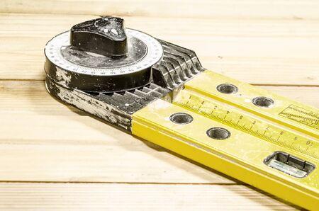 apparatus: Apparatus for measuring the angle - construction protractor Stock Photo