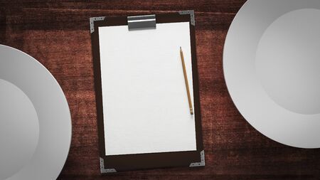 still life food: paper and plates on a wooden table Stock Photo