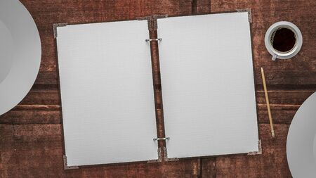 paper plates: paper and plates on a wooden table Stock Photo