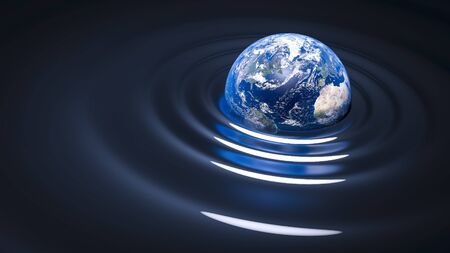 blue abstract wave: gravity wave on Earth - our blue planet