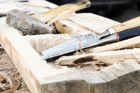 joinery: joinery tools - making wooden box Stock Photo