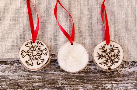 wood craft: Homemade christmas ornament Stock Photo
