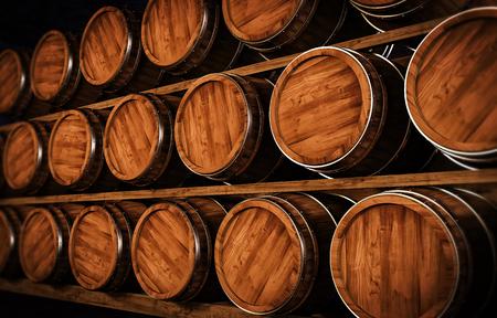 winemaking: Wooden winemaking barrel 3d illustration Stock Photo