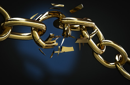 golden chain broken with copyspace 3D illustration Stock Photo